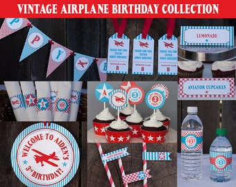 Airplane Birthday Decorations Package - Printable - Vintage Airplane Birthday DIY Printable - PERSONALIZED- Teal, Red & White