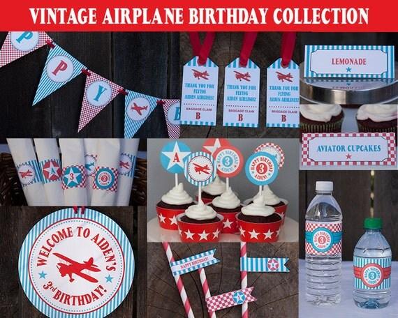 Airplane Birthday Decorations Package Printable Vintage Airplane