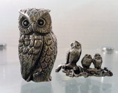 Vintage Small & Miniature Pewter Family of Owls Figurines.  Appx 2 Inch Tall Larger and 1 In. Tall Smaller Set. Good Condition.