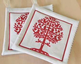 Pot Holders,  One Pair:  Tree of Life Red