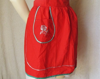 Vintage Red Half Apron with Silver Rose and Trijm