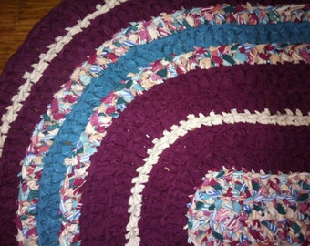 """crochet rag rug oval """"Rags to Riches"""" (23 1/2"""" x 43"""")"""
