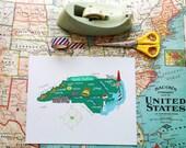"North Carolina Illustrated 8""x10"" Map"