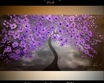 "Oil Landscape Tree painting Abstract Original Modern 48"" palette knife  Purple Night  oil  impasto oil painting by Nicolette Vaughan Horner"