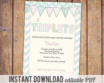 triplets baby shower invitations, blue chevron, blue pink, green with banner, gender neutral, instant download, editable PDF