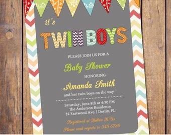 twin boys baby shower invitations, modern baby shower invite, baby shower invitations, twin baby shower invitations, chevron (item162c)