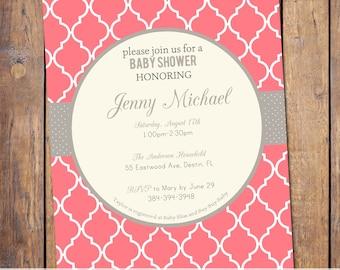 Girls baby shower invitation, modern,gender neutral, baby shower invitations, coral and yellow, digital, printable file (item147)