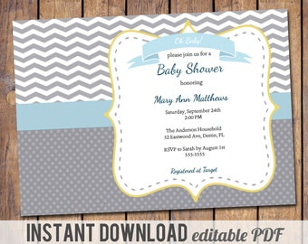 instant download, baby shower invitation, editable PDF, gender neutral baby shower invitation, blue, yellow and grey