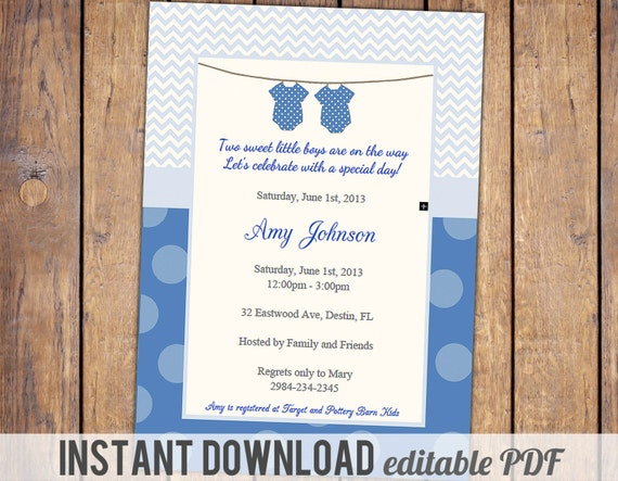 Baby Gift List Poem : Items similar to twin boys baby shower invitation with
