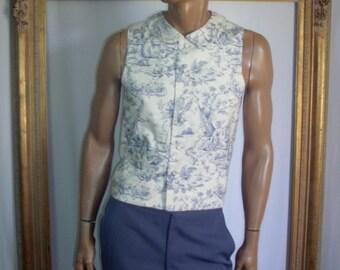 Vintage Blue & White Toile Men's Vest - Size Medium