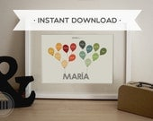 Printable - PDF - Baby Family Tree with Balloons - Personalized