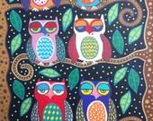 Kerri Ambrosino Mexican Folk Art NEEDLEPOINT Starry Night Owl Friends Trees
