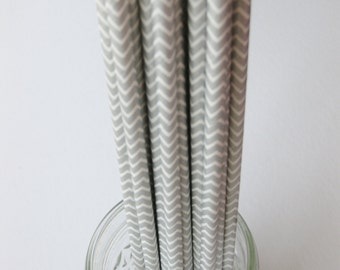 25 Paper SILVER and White Chevron Straws - Free Printable Straw Flags