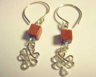 """Pierced Earrings """"Celtic Dreams"""" Sterling Silver and Goldstone 1 Pair Wirewrapped"""