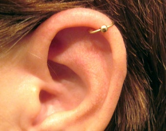 "14K Gold Filled Helix Cartilage Ear Cuff  ""Captive Ball"" Handmade No Piercing"