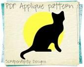 Black Cat Applique Pattern -  Halloween Applique Template / Yellow Moon Wall Hanging / Halloween Quilt Pattern / Kid Black Cat Shirt AP282-D