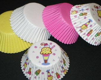 "50ct ""Ice Cream Party"" Pink Yellow & White Baking Cups Cupcake Muffin Liners STANDARD SIZE"