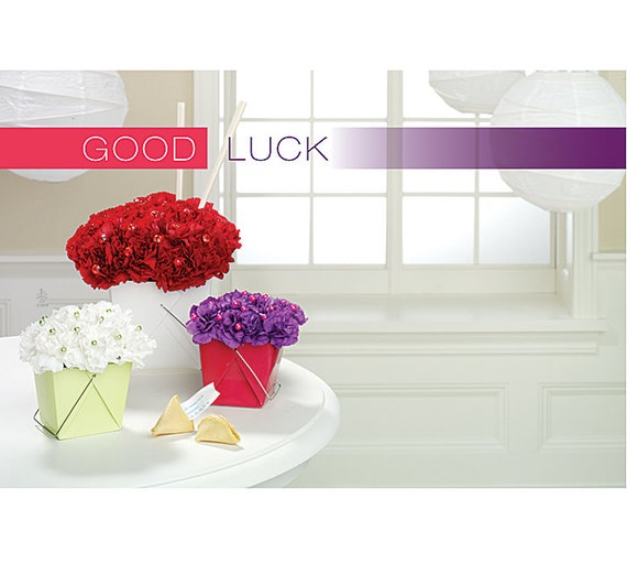 Good luck flowers florist blank enclosure cards