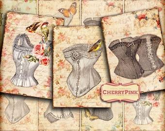 VINTAGE ILLUSTRATION Collage Sheet, digital scrapbook vintage printable sheet, graphic design for paper craft