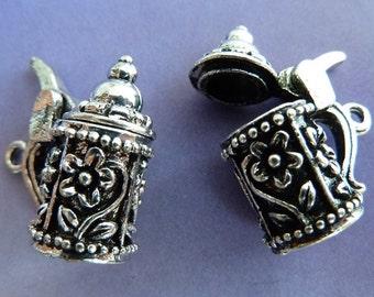 2 pendants, beer mug, stein, Oktoberfest, bavarian, antique silver