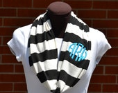Monogrammed Infinity Scarf Game Day Stripe Black and Ivory