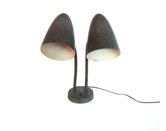 Mid Century Bullet Fiberglass Lamp Shade Double Gooseneck Table Lamp