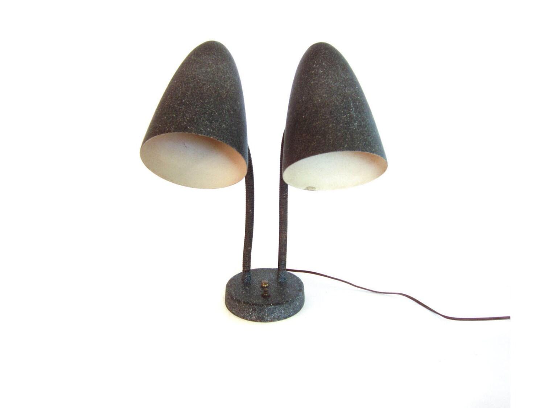 mid century bullet fiberglass lamp shade double gooseneck. Black Bedroom Furniture Sets. Home Design Ideas