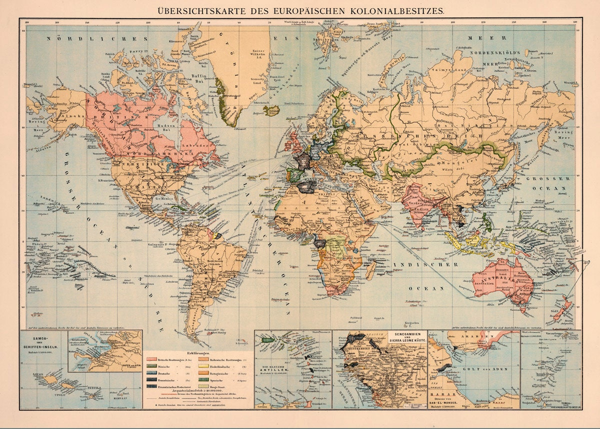 World map Decorative map Old wall map Fine by AncientShades
