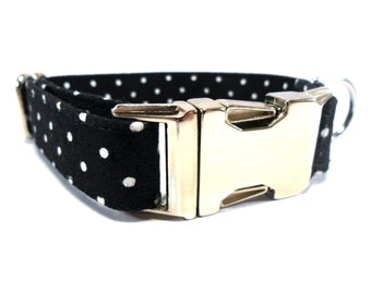 Dog Collar, WHITE DOTS, Handmade Dog Collar