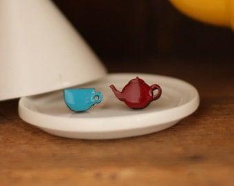 Cup of Tea Earrings (Red and Aqua)