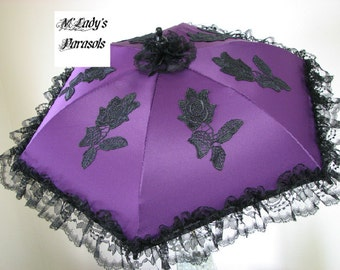 VICTORIAN PARASOL Umbrella in Your Choice Color Fabric with Embroidered Appliques and Black Lace Ruffle