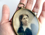 Brass Photo Locket Frame with Hand Painted antique photo