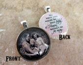 Wedding Bouquet Photo Memorial Charm - Double Sided Pendant - Custom Picture Wedding Charm - Heaven Poem In Memory Jewelry - 14 Styles