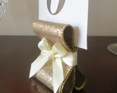 Custom order - Table Number Holders - Wedding Decor - Six (6) with Golden Glitter & Light Pink Satin Ribbon
