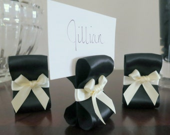 Place Card Holders - One Hundred (100) with Black and Ivory Satin Ribbon - Customize Your Colors