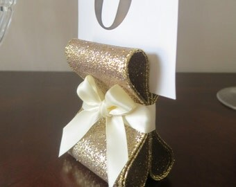 Table Number Holders - Wedding Decor - Ten (10) with Golden Glitter & Ivory Satin Ribbon - Customize Your Colors
