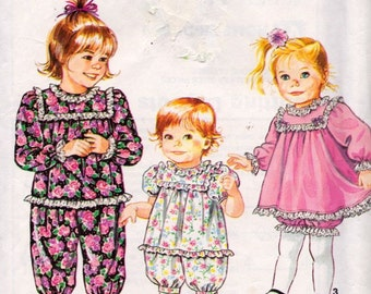 Simplicity 7594 Toddlers' Romper Dress in Two Lengths and Dress and Panties Pattern, UNCUT, Size 1/2-1-2, Retro, Ruffles, 1991, Vintage