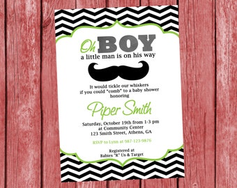 Little Man Printable Party Invitation.  Mustache Little Man Invitation.  Customized Invite.  Mustache Baby Shower or Birthday Invitation