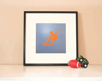 Modern Children's Paper Wall Art - Skateboarder in Action Silhouette 2 or Personalized - 12 x 12 - Navy Blue and Orange or Custom Color