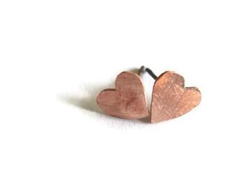 Copper heart earrings stud posts minimalist