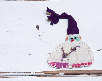 Vintage Patchwork Snowman Brooch Christmas Ornament Original Primitive Shabby Feedsack Cutter Quilt Christmas Woodland Pin itsyourcountry