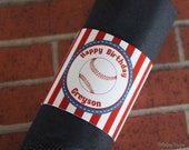 Vintage Baseball Birthday Party Custom Napkin Ring Band