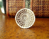 Flower Stamp: Hand Carved Wood Stamp, Round Handmade Circle Sun Printing Block from India, Pottery Textile Ceramics Stamp