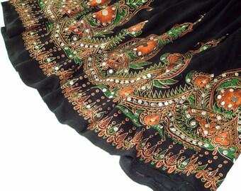 Black Mini Skirt: Short Gypsy Skirt, Flowy Boho Indian Skirt, Bohemian Orange Flower Sequin Cover Up