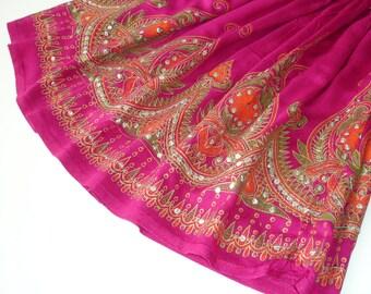 Short Pink Gypsy Skirt: Boho Mini Skirt Cover Up, Flowy Magenta Bohemian Sequin Skirt