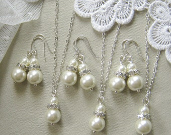 SET of 8bridesmaid necklace earring set, rhinestone necklaces bridesmaid gifts wedding pearl jewelry - W004 white ivory pearl custom
