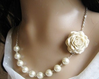 Rose pearl necklace, bridal, bridesmaid necklace, flower wedding jewelry - F008 (Choose your pearl colour)