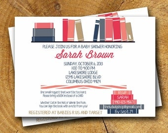 BABY BOOK SHOWER invitation with bookmark favor