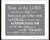 Proverbs 3:5-6 Trust in the Lord Typographic Print, Inspirational, Scripture Wall Art,