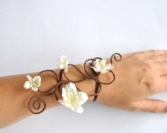 Flower and vine armcuff  wrap armlet bracelet bouquet corsage something small for Bride for bridesmaid Prom